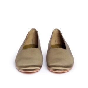NEW Vince Maxwell Satin Olive Green Flats Size 8.5